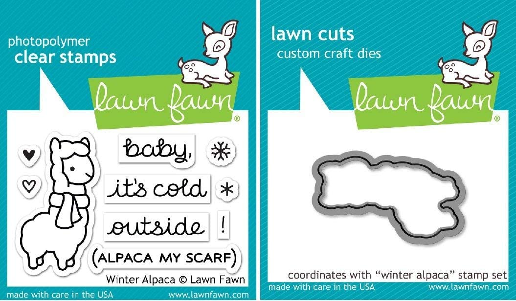 Lawn Genuine Free Shipping Fawn Winter Alpaca Clear Stamp and Includes One Die - Set E New Shipping Free