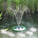 Mauk Solar Springbrunnen Schwimmend LED Akku 250l/h, inkl. Fernbedienung, 75cm hohe Fontaine, 4 Aufsätze