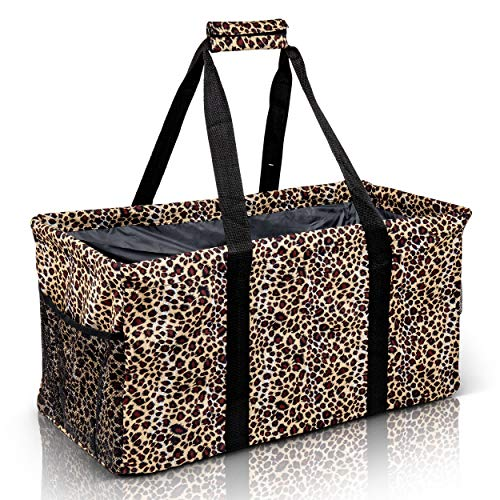 Extra Large Utility Tote Bag - Oversized Collapsible Reusable Wire Frame Rectangular Canvas Basket With Two Exterior Pockets For Beach, Pool, Laundry, Car Trunk, Storage - Leopard