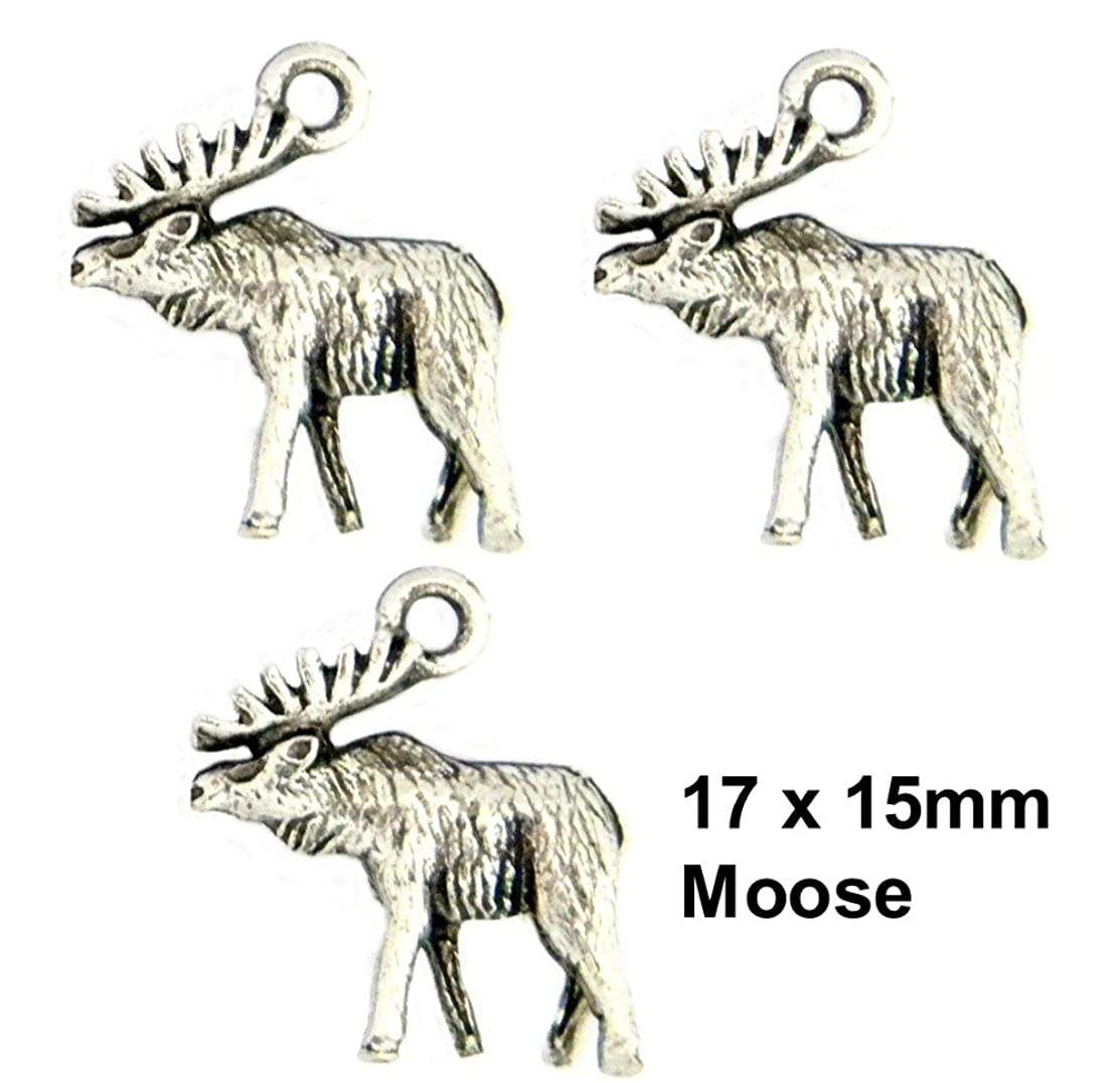 PlanetZia 6pcs Moose Charms Charms, USA Made For Jewelry Making TVT- S382-1 (Antique Silver)