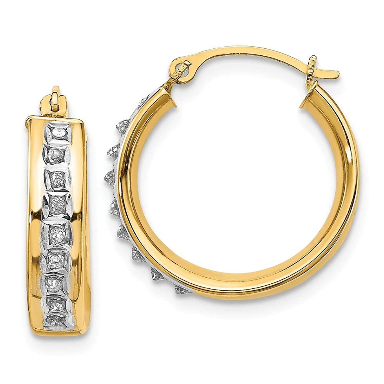 14k Yellow Gold Diamond Fascination Round Hinged Post Stud Hoop Earrings Ear Hoops Set Fine Jewelry Gifts For Women For Her