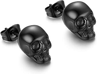 BlackAmazement Lot de 2 paires de boucles doreilles cr/éoles en acier inoxydable argent/é Shiny Triple Crossbones t/ête de mort Pirate pour homme et femme
