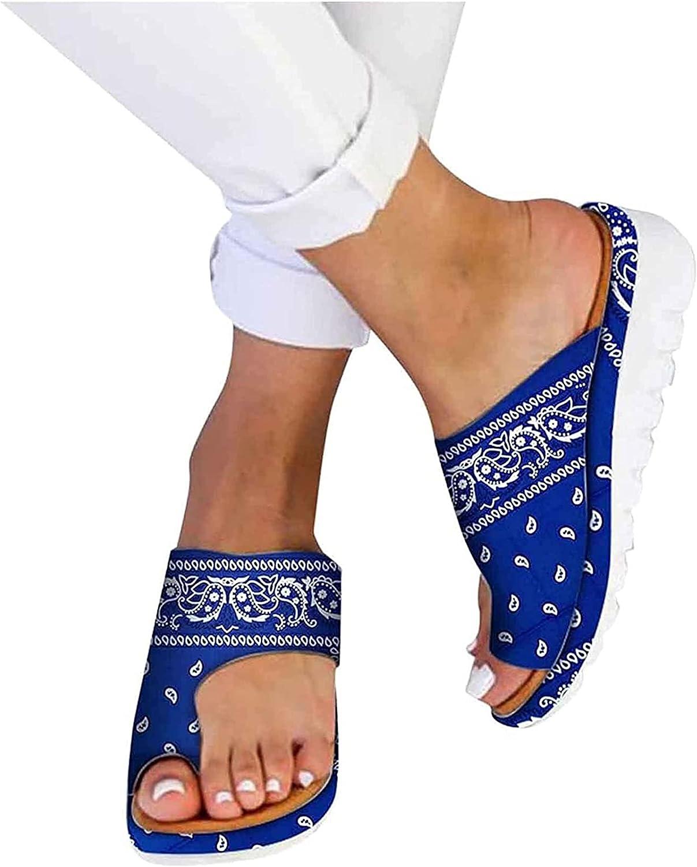 Women Orthopedic Sandals, Summer Ladies Sandals Comfort Wedge Platform Sandals Clip Toe Flat Beach Walking Shoes Flip Flop Travel Outdoor Wide Fit (Color : White, Size : 43)