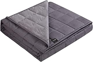 ZonLi Cooling Weighted Blanket 25 lbs(60''x80'', Printed Tiny Square) for Adults, Adult Weighted Blanket for Summer, 100% Cotton Material with Glass Beads