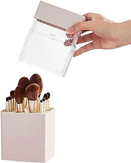 2 in 1 Opbergrek voor Cosmetische Borstels, Draagbaar Waterdicht Luchtdrogend Transparant Droogrek voor Cosmetische Borste...