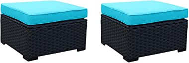 Patio PE Rattan Wicker Ottoman Seat - Outdoor Footrest with Water Resistant Turquoiae Cushions-Set of 2