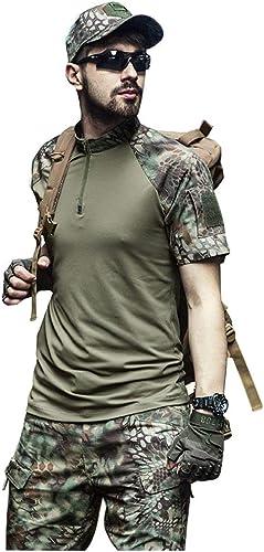 JIANPING Camping en Plein air randonnée Costume de Jeu de Guerre Alpinisme Costume à Manches Courtes Hommes Costume Jungle été Jungle Costume de Camouflage Deux pièces Camouflage (Taille   XXXL-XXXL)
