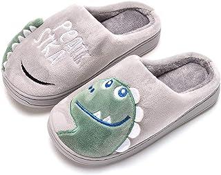 Drecage Enfants Pantoufles Mignon Dinosaure Chaud Doux en Peluche Maison Chaussures Coton Chaussures Garçons Et Filles Enf...