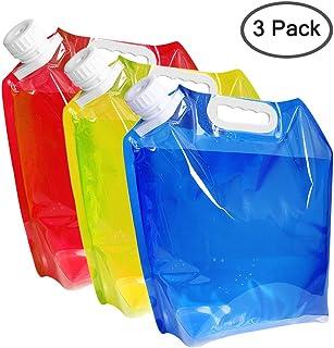 maxin Envase de Agua Plegable de 5 litros, Portador de Agua de plástico Libre de BPA, Conjunto de Bolsa de Agua Plegable 3 para Acampar al Aire Libre.