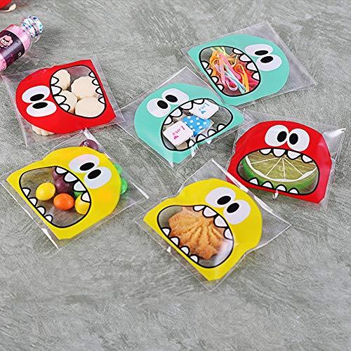 JZK 600 x Monster selbstklebend Plastiktüten Bonbons Tüten Plätzchen Flachbeutel Süßigkeiten Bodenbeutel Geschenktüte Kekstüten für Hochzeit Geburtstag Babyparty Kinderparty