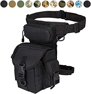 Military Tactical Drop Leg Bag Tool Fanny Thigh Pack Leg Rig Utility Pouch Paintball Airsoft Motorcycle Riding Thermite Versipack, Black/Tan/Army Green/Camouflage… 11 Colors