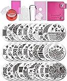 Biutee Nail Art Stamping 30pcs Placas Estampacion Uñas para Manicura +2pcs Sello de Silicona +2 pcs Rascador +1 pcs Bolsa para Placas