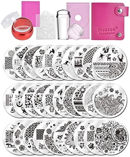 Biutee Nail art 30pcs piatti per unghie,con Animali Fiori Immagine +1 pcs Doppia Testa in Silicone Trasparente Stamper+1pcs Busta+1pcs Raschietto