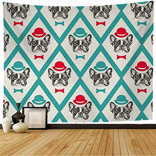 Starotor Wall Tapestry Dog French Bulldog Pen Animals Wildlife Hipster Vintage Adorable Friend Animal Artistic Bow Breed Tapestry Wall Hanging Bedding Tapestry for Bedroom 80x60 Inch