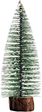 KESYOO Mini Pine Trees Frosted Sisal Trees with Wood Base Bottle Brush Trees Winter Snow Ornaments Tabletop Trees with Lig...
