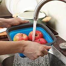 Dergo ☀ Silicone Colander, Foldable Silicone Colander Fruit Vegetable Washing Basket Strainer Kitchen Tool (L)