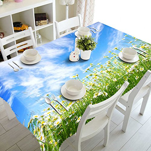 XXDD Mantel Pastoral 3D patrón de Gloria de la mañana Blanca paño de Cocina Impermeable Espesado Rectangular Mantel de Boda A3 140x200cm
