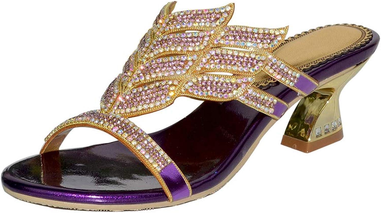Women's High Heel Slippers Shining Rhinestone Alien Sandals Fashion Beach Slippers