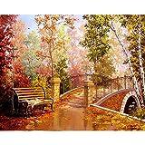 Paisaje pintura acrílica por número conjunto de pintura al óleo para adultos Kit de bricolaje lienzo imagen dibujo por número color decoración arte W2 60x75cm