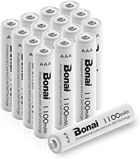 BONAI 1100mAh AAA Rechargeable Batteries 1.2V Ni-MH High-Capacity baterries AAA 16 Pack - UL Certificate for Garden Lights