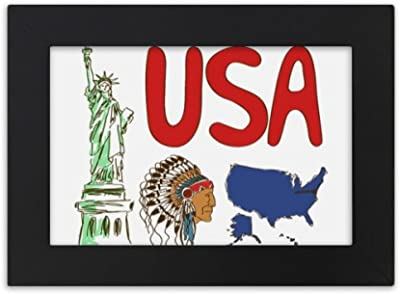 DIYthinker America National symbol Landmark Pattern Desktop Photo Frame Black Picture Art Painting 5x7 inch