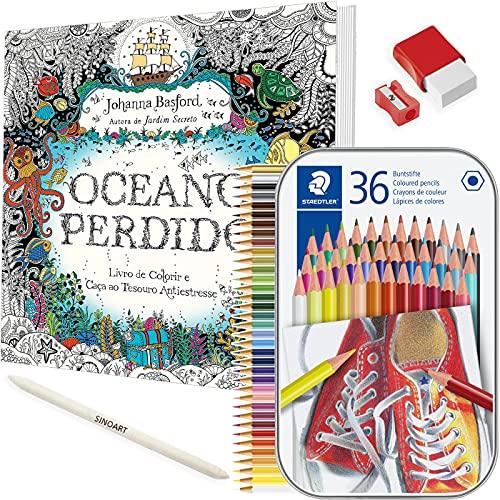 Kit Livro de Colorir Antiestresse Oceano Perdido + Lápis Colorido Staedtler e mt+