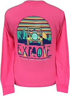 Girlie Girls Explore Neon Pink Preppy Long Sleeve T-Shirt Adult
