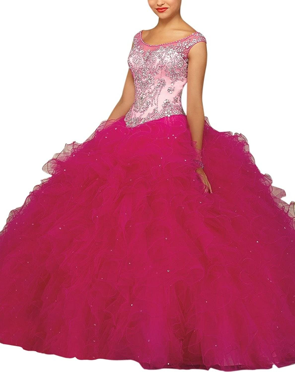 Dearta Women's Ball Gown Bateau Floor Covered Button Tulle Quinceanera Dresses