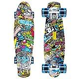 """GORIFEI 22""""55 cm Mini Cruiser Skateboard Retro Tavola Completa Altamente Flessibile per Bambini Ragazzi Giovani Principianti (Graffiti)"""