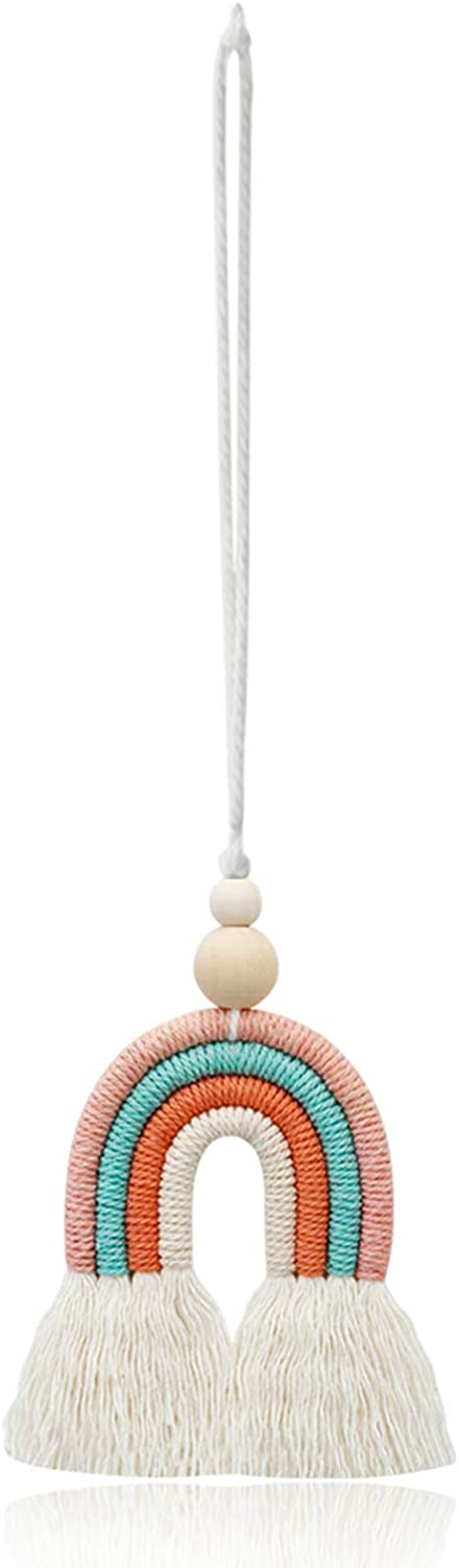 ZOONAI Rainbow with Wood Bead Decorations Wall D/écor Hanging Colorful Handmade Weaving Car Ornament Modern Home Decoration Accessories Hanging Pendant for Bedroom Nursery Room A-Light Blue