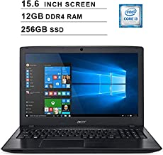 Acer 2019 Aspire E5 15.6 Inch FHD Laptop (Intel Dual Core i3-8130U up to 3.4 GHz, 12GB RAM,256GB SSD, Intel HD Graphics 620, WiFi, Bluetooth, HDMI, DVD, Windows 10 Home)