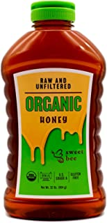 Sweet Bee USDA Certified Organic Honey - Gluten Free, Kosher, Grade A, 100% Pure Raw and Unfiltered Natural Yucatán Mayan Squeeze Bottle Honey (32 oz)
