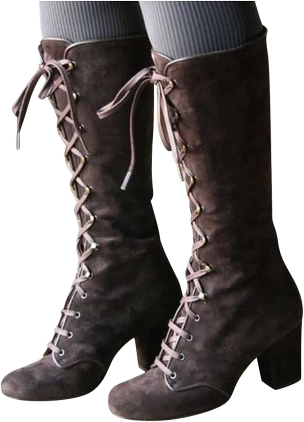 Swiusd Women Fashion Casual Vintage Retro Mid-Calf Boots Lace Up Thick Heels Boots Women's Round Toe Lace Up Knee High Riding Boots