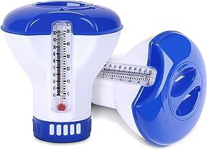 Dispensador de Tabletas de cloro flotante, Dispensador químico, Dosificador de Cloro Flotante Dispensador Cloro Flotante de Cloro para Piscinas y SPA, Con termómetro de agua de piscina (2 Piezas)