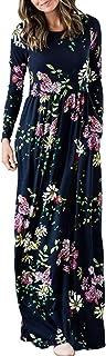 Zattcas فستان ماكسي طويل الأكمام للنساء طباعة الأزهار فساتين طويلة غير رسمية مع جيوب