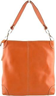Borsa Donna A Tracolla In Pelle Colore Arancione - Pelletteria Toscana Made In Italy - Borsa Donna