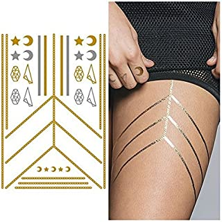 Tattify Gold Silver Moon And Star Necklace Temporary Tattoo - Connected Sheet 1 (Set of 1 sheet) - Other Styles Available and Fashionable Temporary Tattoos