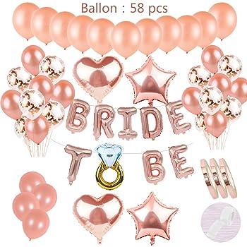 """Ballons Junggesellenabschied Wanddeko Folienballons Herzen /""""Bride Tribe/"""" 5 Stk"""