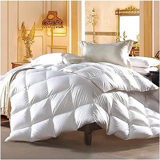 لحاف مقاس Queen أبيض من ريش الإوز مقاس 200 × 230 سم، لحاف مناسب لجميع فصول السنة، حشوة لحاف دافئة للشتاء، لا يسبب الحساسية...