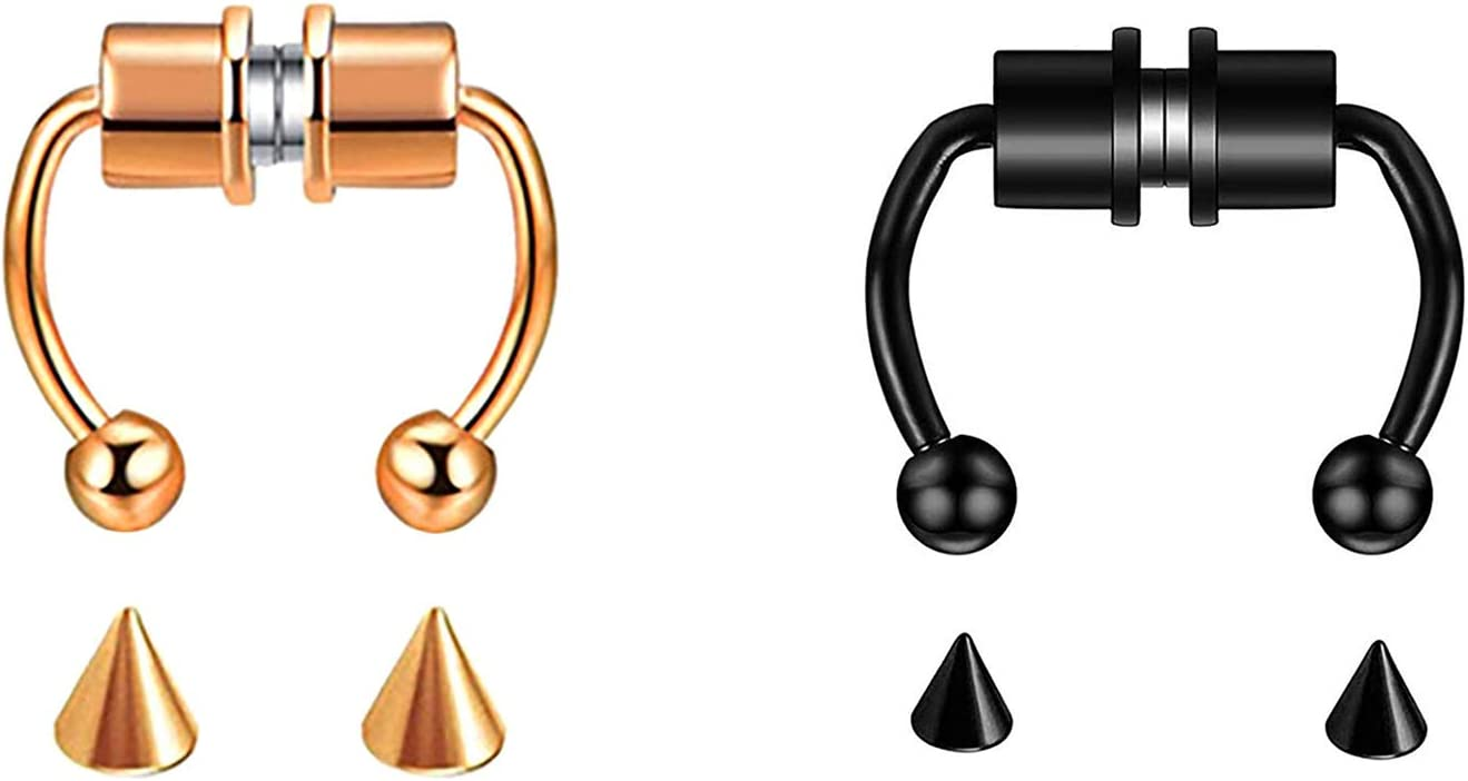 LELEBEAR Magnetic Septum Nose Ring Horseshoe rings, Fake Nose Ring Hoop Reusable Tik Tok Nose Ring Hoop Non Piercing 316L Stainless Steel (Black+Rose Gold)