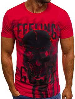 Winsummer Men's Vampire Skulls T-Shirt Short Sleeve Casual Print Graphic Tee Summer Man Tshirts Tops