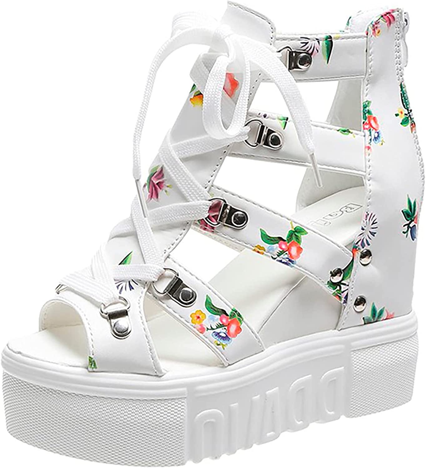 Sandals for Women Casual Summer Roman Multicolor Shoes Ankle Strap Strappy Slide Open Toe Heeled Sandals