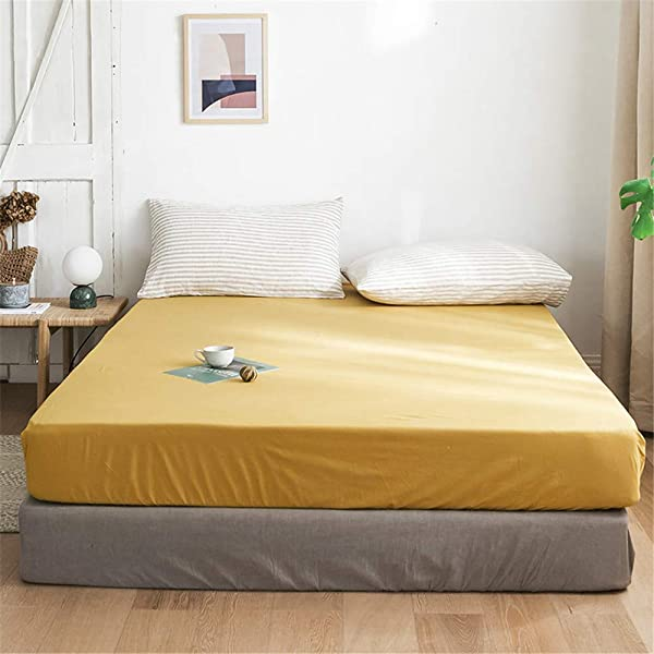 Mixinni Modern Style Super Soft Gold Fitted Sheet Solid Color Bed Sheet 15 Deep Pocket Full Queen Size Only 1 Gold Color Fitted Sheet