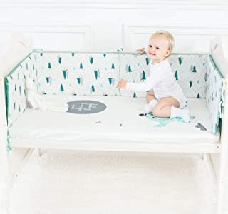 KINBEDY 100% Premium Cotton Baby Breathable Crib Bumper Pads for Standard Cribs Machine Washable Padded Safe Bumper Guards Crib Liner (Little Tree, 130x30CM x3)