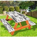 LEWIS FRANKLIN - Cortina de ducha náutica de lujo para picnic, mantel ajustable con borde elástico, 60 x 172 pulgadas, juego de 3 piezas para mesa plegable