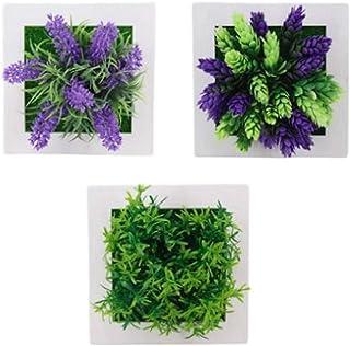 Sweet+ おしゃれ 壁掛け 観葉植物 ウォールグリーン インテリア 造花 フェイク エアープランツ モデルルーム (パープル系 3個)