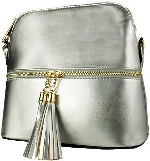 48c3121431 REDFOX Women's Mini Tassel Zip Trendy Snakeskin Faux Leather Sling Crossbody  Handbag