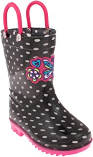 Shiny Polka Dot Printed and Love Butterfly Jelly Applique Toddler Girls Jelly Rain Boots