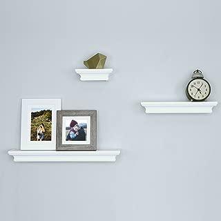 Ballucci Classic Floating Wall Mounted Shelves Ledge Shelf, Decorative Display, Set of 3, White