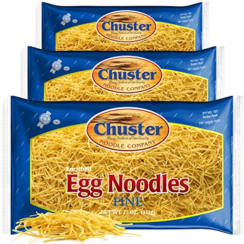 Chuster Fine Egg Noodles | Bulk 3 Pack of Enriched Noodle Pasta for Soup, Ramen, Stroganoff, Stir Fry, Lo Mein & Other Asian Fare | Cooks in 10 Minutes! |Low Sodium, Kosher Pareve